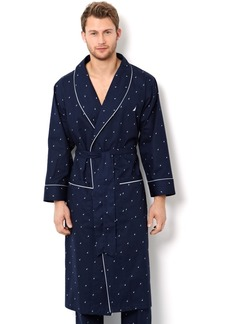 Nautica Men's Signature Light Weight J-Class Logo Woven Robe