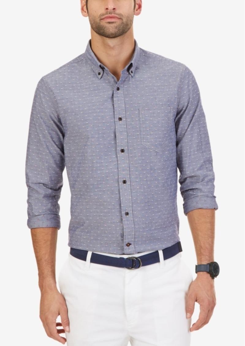Nautica Men's Slim-Fit Chambray Geo-Pattern Dobby Long-Sleeve Shirt