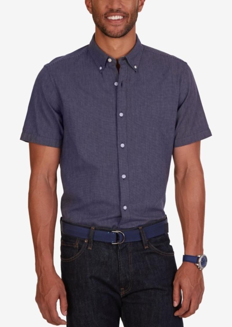 Nautica Men's Slim-Fit Dobby Stripe Short-Sleeve Shirt