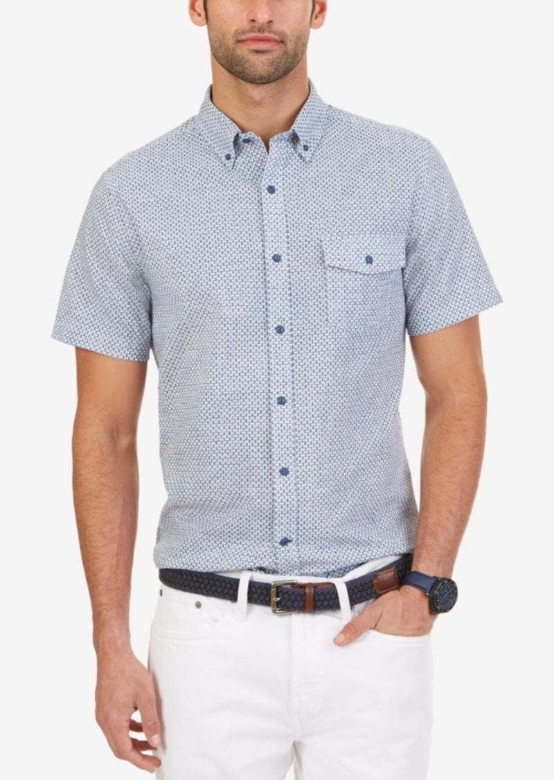 Nautica Men's Slim Fit Geo-Print Short-Sleeve Shirt