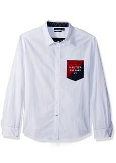 Nautica Men's Slim Fit Heritage Logo Long Sleeve Button Down Shirt