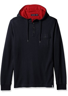 Nautica Men's Slim Fit Hooded Henley Shirt  M