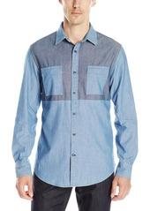 Nautica Men's Slim Fit Pieced Chambray Shirt
