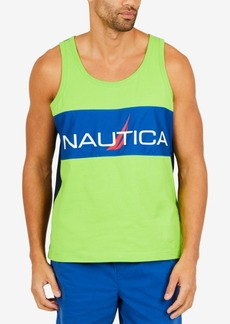 Nautica Men's Slim-Fit Pieced Colorblocked Logo-Print Tank