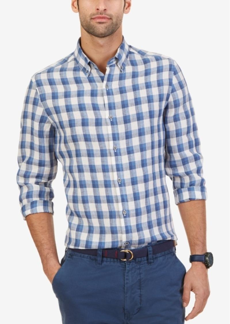 Nautica Men's Slim Fit Plaid Linen Shirt