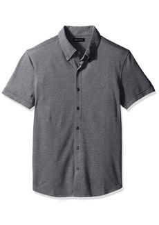 Nautica Men's Slim Fit Short Sleeve Button Down Pique Polo Shirt
