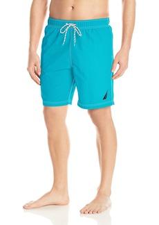 Nautica Men's Solid Quick Dry Classic Logo Swim Trunk Bright Blue jig