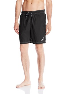 Nautica Men's Solid Quick Dry Logo Swim Trunk