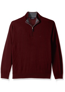 Nautica en's Standard Long Sleeve 1/4 Zip Solid Sweater with Suede Pull Detail  edium