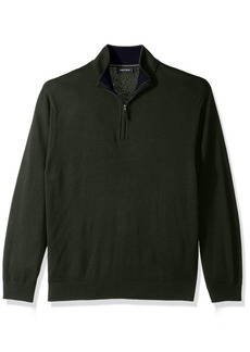Nautica Men's Standard Long Sleeve 1/4 Zip Solid Sweater with Suede Pull Detail