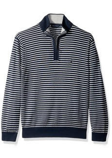 Nautica Men's Standard Long Sleeve 1/4 Zip Stripe Sweater with Suede Pull Detail