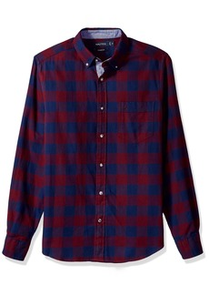 Nautica Men's Standard ong Sleeve Buffalo Plaid Cozy Flannel Button Down Shirt  arge