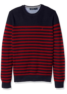 Nautica Men's Standard Long Sleeve Classic Bretton Stripe Sweater Red
