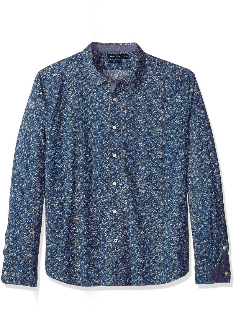 Nautica Men's Standard Long Sleeve Floral Print Button Down Shirt