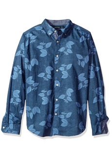 Nautica Men's Standard Long Sleeve Leaf Print Button Down Shirt