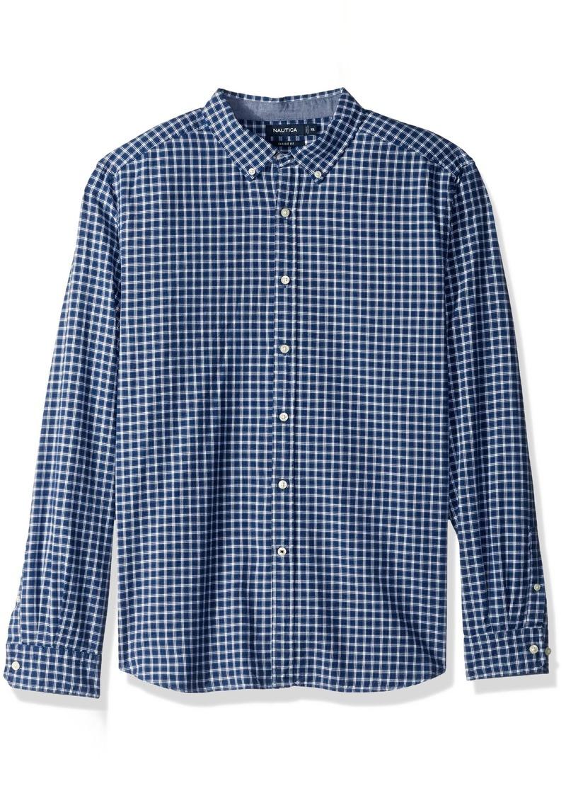 Nautica Men's Standard Long Sleeve Plaid Stretch Oxford Button Down Shirt