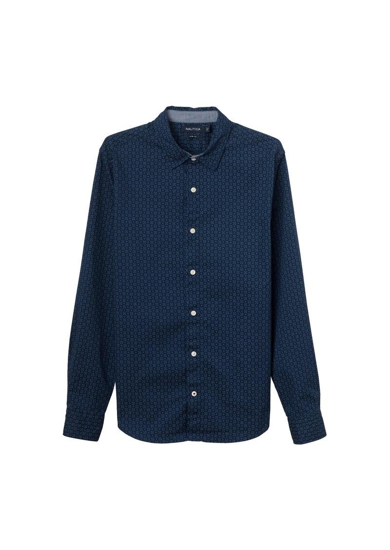 64c4f90c44 Men's Standard Long Sleeve Print Stretch Oxford Button Down Shirt. Nautica