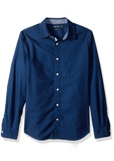 Nautica Men's Standard Long Sleeve Print Stretch Oxford Button Down Shirt