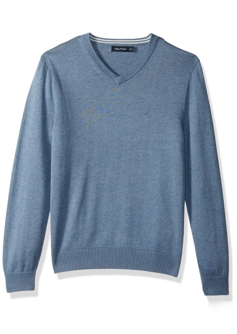 Nautica Men's Standard Long Sleeve Solid Classic V-Neck Sweater Deep Anchor Heather
