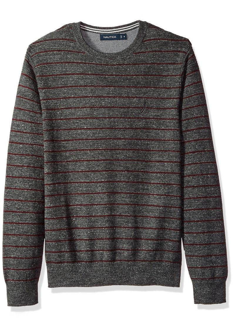 Nautica Men's Standard Long Sleeve Striped Crew Neck Sweater