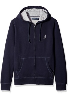 Nautica Men's Standard Long Sleeve Sueded Fleece Full Zip Hoodie Sweatshirt