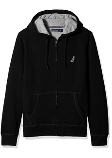 Nautica Men's Standard Long Sleeve Sueded Fleece Full Zip Hoodie Sweatshirt