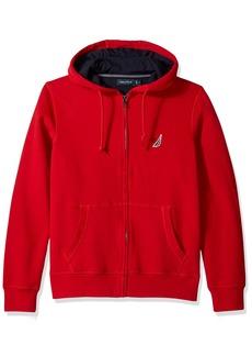 Nautica Men's Standard Long Sleeve Sueded Fleece Full Zip Hoodie Sweatshirt Red