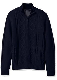 Nautica Men's Standard Long Sleeve V-Neck Cable Sweater