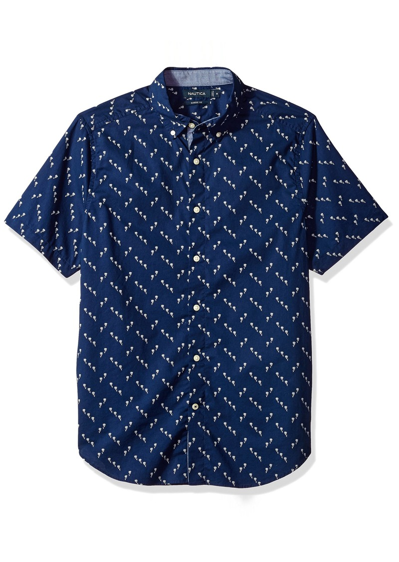 Nautica Men's Standard Short Sleeve Print Button Down Shirt