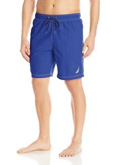 Nautica Men's Standard Solid Quick Dry Classic Logo Swim Trunk