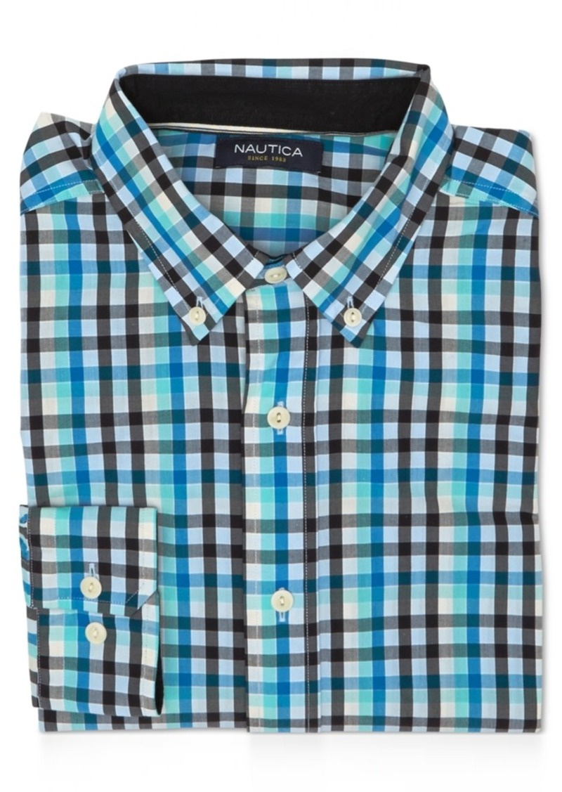 Nautica Men's Star Plaid Long-Sleeve Shirt