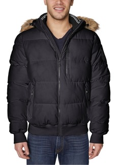 Nautica Men's Stretch Faux Fur-Hooded Bomber Jacket