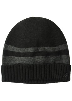 Nautica Men's Striped Hat with Ribbed Cuff