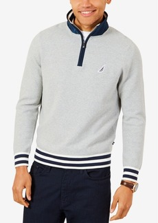 Nautica Men's Striped-Trim Quarter-Zip Sweater