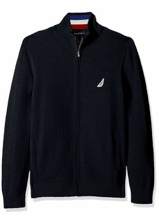 Nautica Men's Textured Blocked Full-Zip Sweater