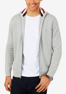Nautica Men's Textured Blocked Full-Zip Sweater