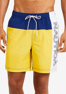 "Nautica Mens Vintage Heritage Colorblocked 8"" Swim Trunks"