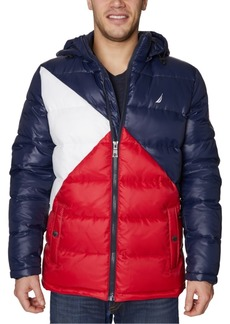 Nautica Men's Water-Resistant Colorblocked Hooded Puffer Jacket