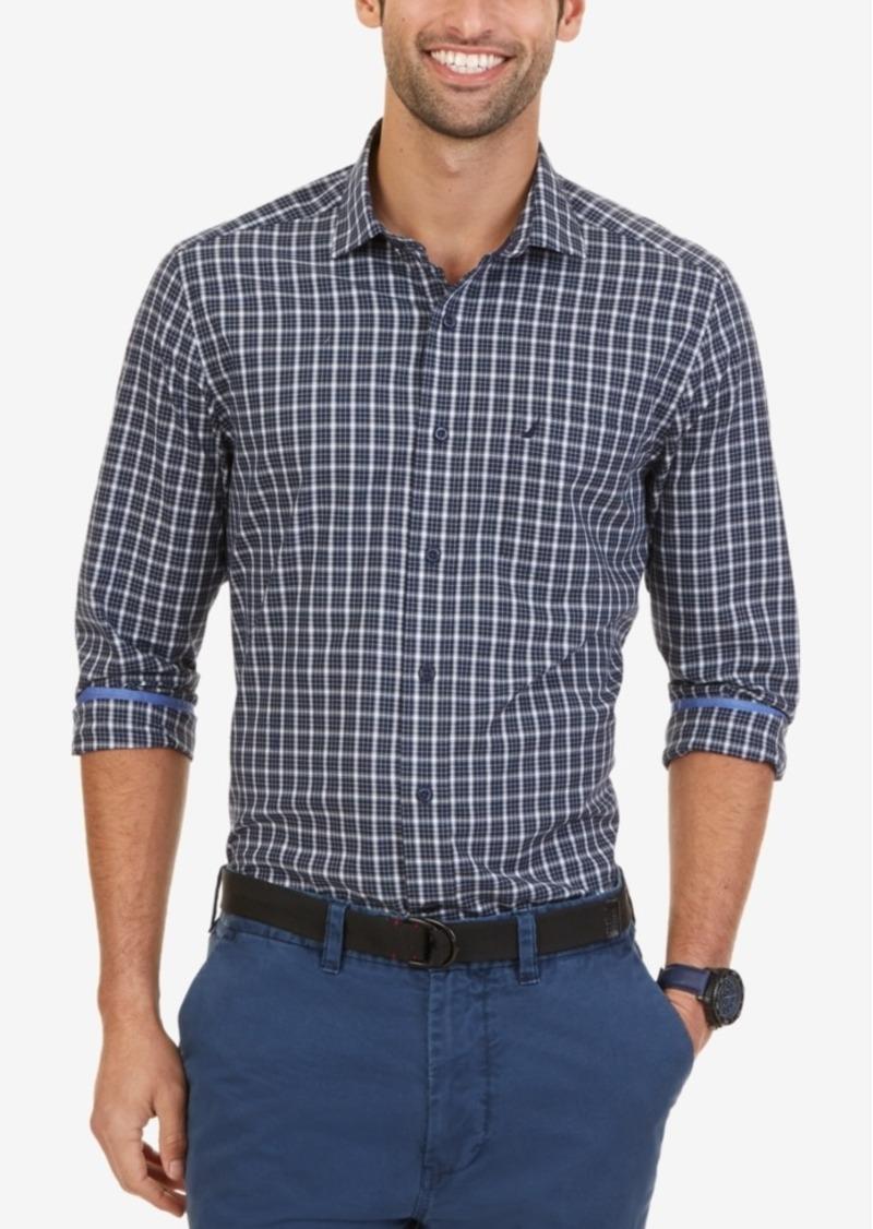 Nautica Men's Wrinkle-Resistant Navy Plaid Shirt