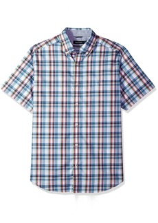 Nautica Men's Wrinkle Resistant Short Sleeve Plaid Button Down Shirt