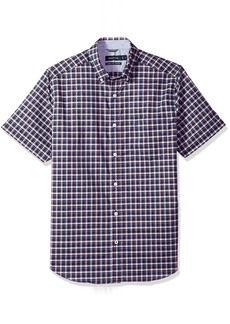 Nautica Men's Wrinkle Resistant Short Sleeve Plaid Button Down Shirt Sailor-Red