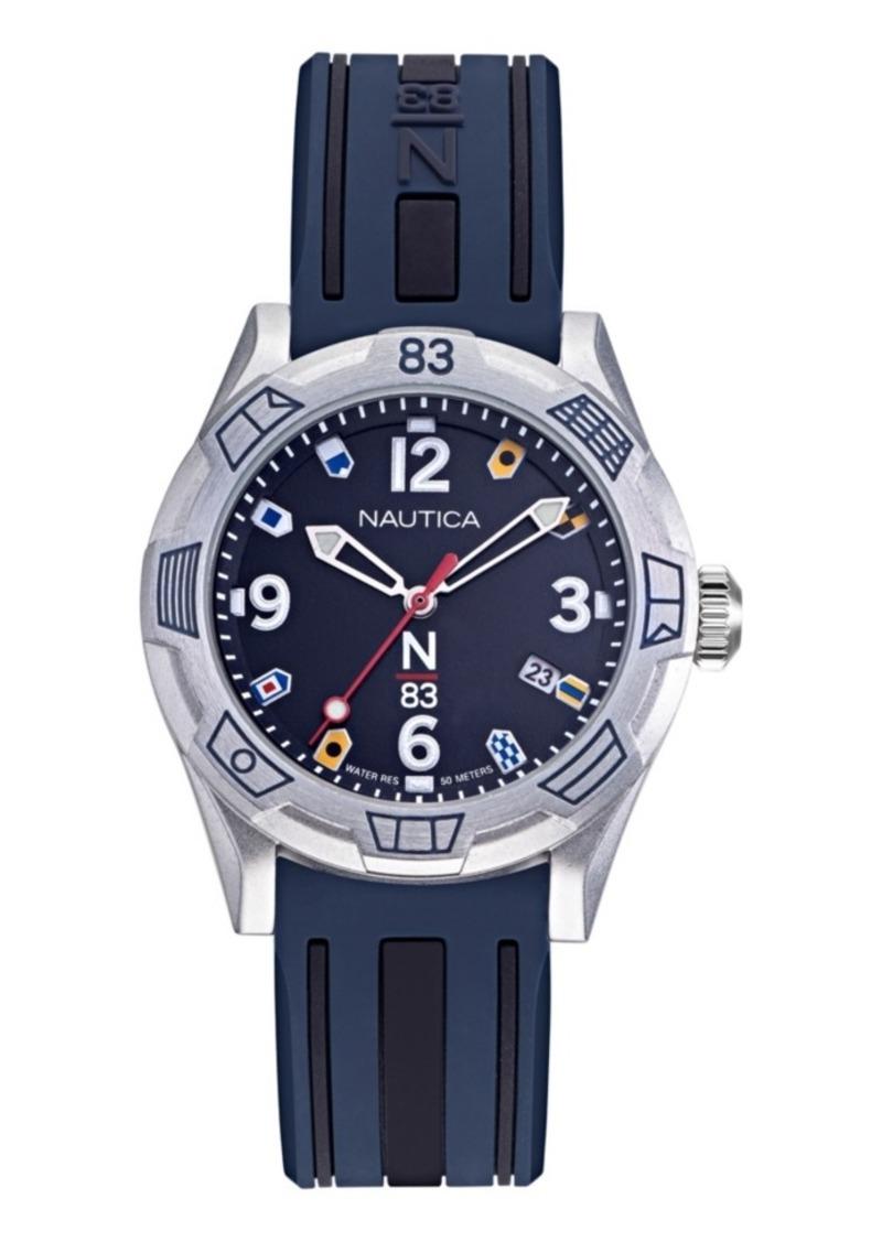 Nautica N83 Ladies Polignano Navy, Silver Silicone Strap Watch 36mm