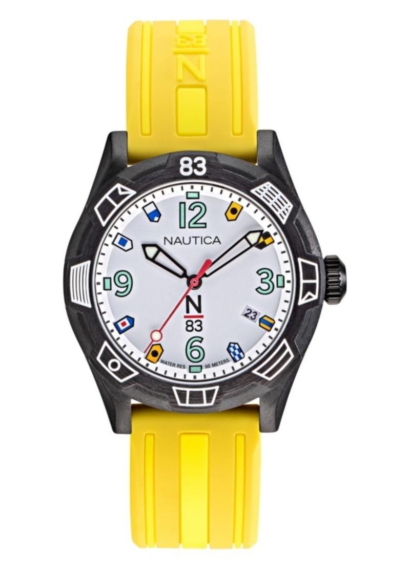 Nautica N83 Ladies Polignano Yellow, Black Silicone Strap Watch 36mm