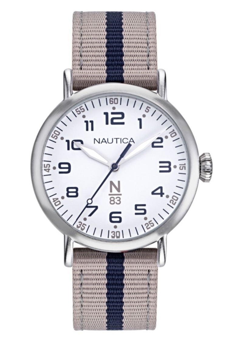 Nautica N83 Ladies Wakeland Lady Beige, White Fabric Strap Watch 40mm