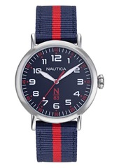 Nautica N83 Ladies Wakeland Lady Navy, Red Fabric Strap Watch 40mm