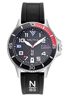 Nautica N83 Men's Cocoa Beach Solar Black, Red Silicone Strap Watch 43mm