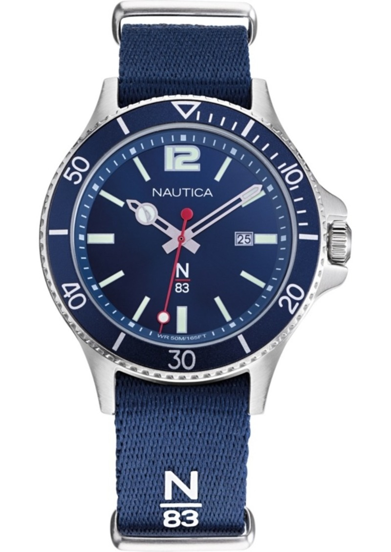 Nautica N83 Men's NAPABS904 Accra Beach Blue/Silver Fabric Slip-Thru Strap Watch