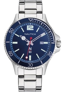 Nautica N83 Men's NAPABS909 Accra Beach Silver/Blue Stainless Steel Bracelet Watch
