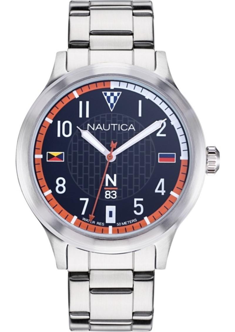 Nautica N83 Men's NAPCFS908 Crissy Field Silver/Blue/Red Stainless Steel Bracelet Watch