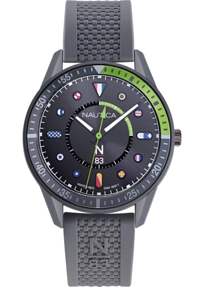 Nautica N83 Men's NAPSPS902 Surf Park Gray/Green Silicone Strap Watch